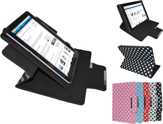 Apple Ipad Mini Retina Diamond Class Polkadot Hoes met 360 graden Multi-stand, Rood, merk i12Cover in Nieuwenhove