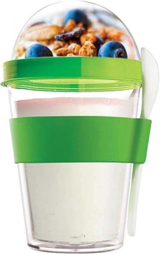 winkel opgehaald grote korting Asobu Chill Yo 2 Go Yoghurtbeker - 360 ml - met lepel - groen