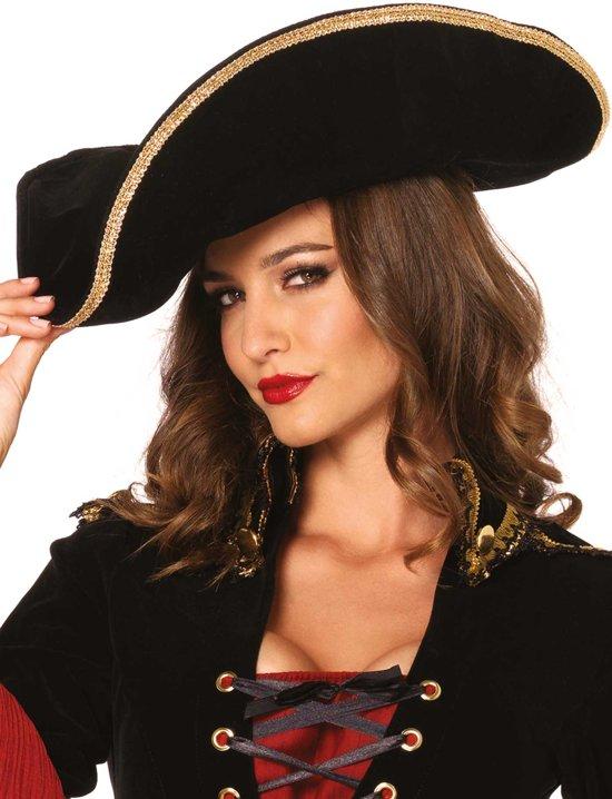 Piratenhoed met goudkleurige rand voor volwassenen - Verkleedhoofddeksel