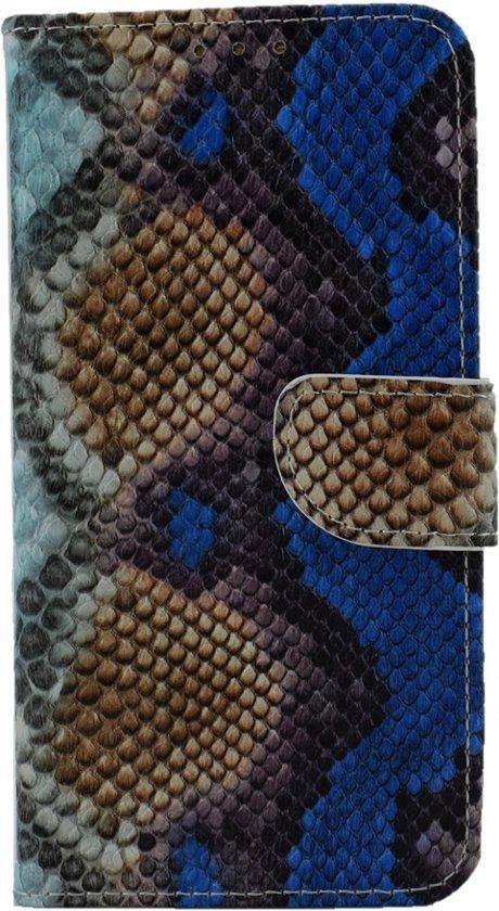Cover voor Samsung Galaxy J120 J1 2016 - Book Case - slangen print - geschikt voor pasjes - Bruin Blauwe Tinten in Verhoven