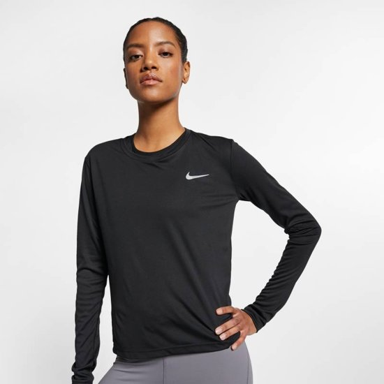 Nike Miler Top Ls Sporttop Dames - Zwart