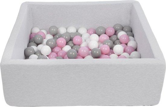 Ballenbak - stevige ballenbad - 90x90 cm - 150 ballen Ø 7 cm - wit, roze, grijs.