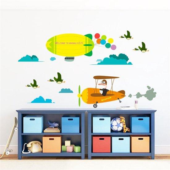 Muursticker badkamer kleurrijk met visjes eco vriendelijk decoratie kinderkamer - Vliegtuig badkamer m ...