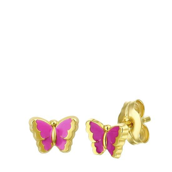Lucardi 14 Karaat Gouden Kinderoorbellen - Vlinder Emaille