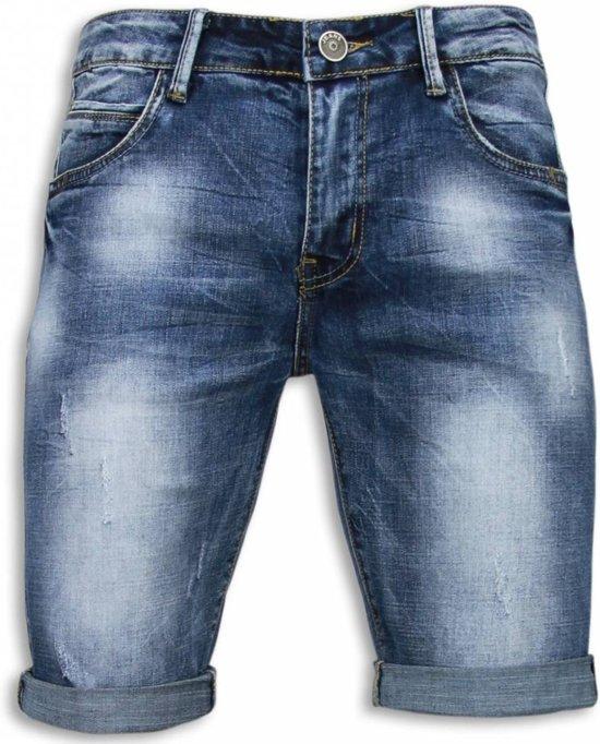 Korte Jeans Broek Heren.Bol Com Black Ace Basic Korte Broek Heren Damaged Blauw