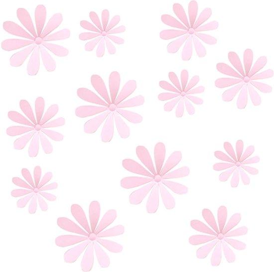 bolcom 3d bloemen stickers muurstickers roze 12