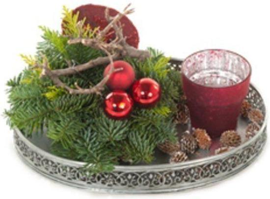 Kerstdecoraties Met Rood : Bol.com aalsmeer plants kerstdecoratie kerststuk rood op dienblad