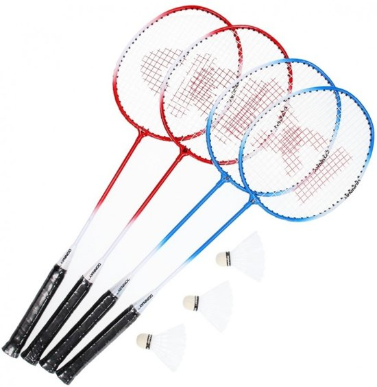 Donnay Badmintonset Met Net Rood 4 Stuks