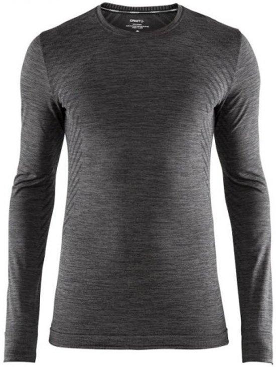 Craft Fuseknit Comfort Rn Ls Sportshirt Heren - Black Melange