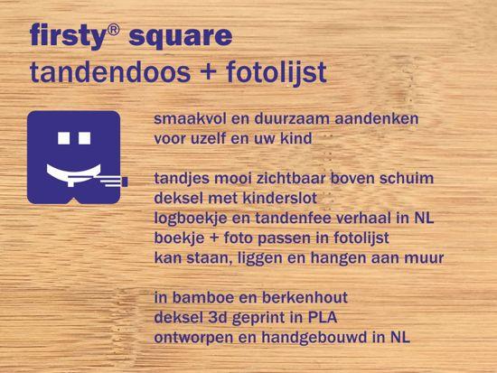 Houten Tandendoosje en Fotolijstje inéén - Bamboe - Roze, Meisje - Firsty® - Ambachtelijk Hollands