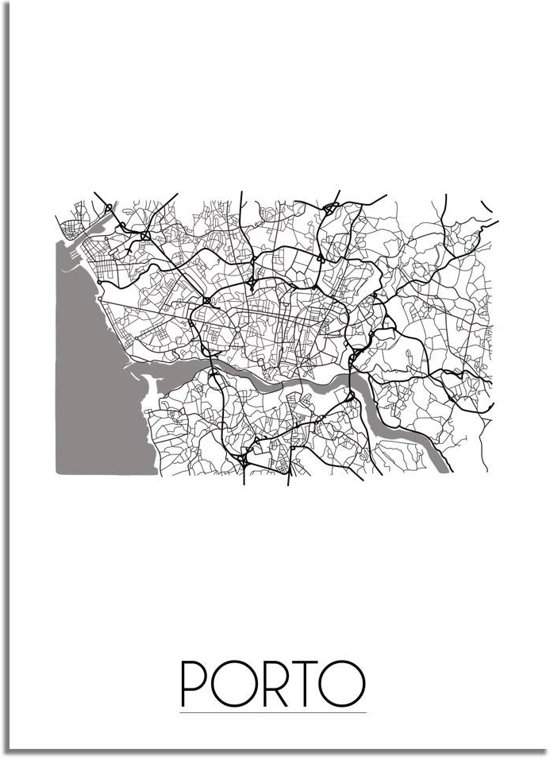 DesignClaud Porto Plattegrond poster A2 poster zonder fotolijst