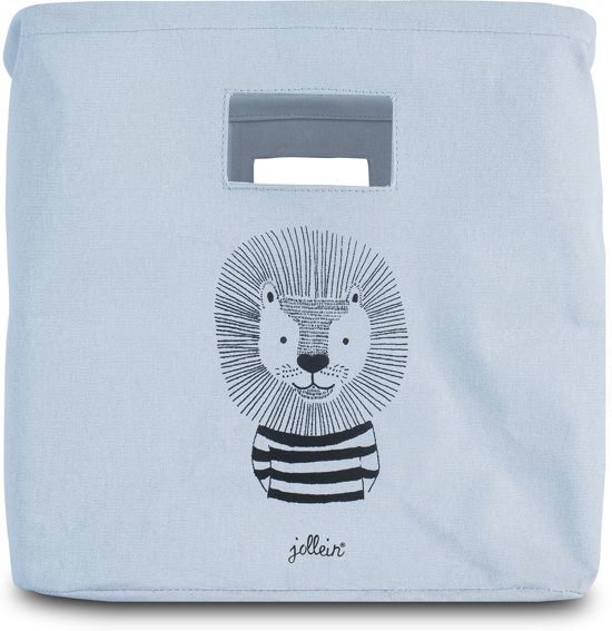 Jollein Wild animals Mand canvas soft blue