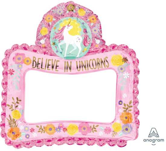 Amscan 'Believe in Unicorns' selfie frame folieballon - 66 x 68 cm Valentinaa