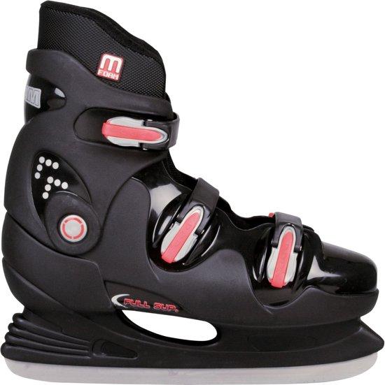 Nijdam 0089 IJshockeyschaats - Hardboot - Zwart/Rood - Maat 45