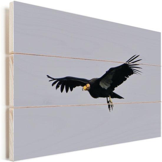 Een Californische condor in een grijze lucht Vurenhout met planken 120x80 cm - Foto print op Hout (Wanddecoratie)