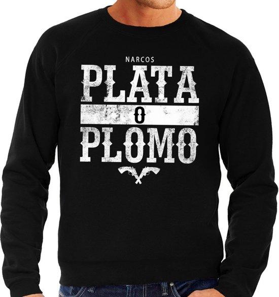 Narcos plata o plomo tekst sweater zwart voor heren - Gangster zilver of lood tekst trui 2XL