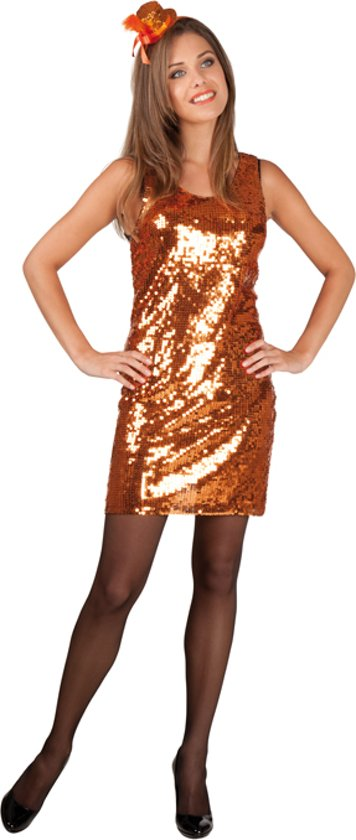 ff62eb25eba1b2 Glitterjurk Luxe Oranje - Maat M - Carnavalskleding
