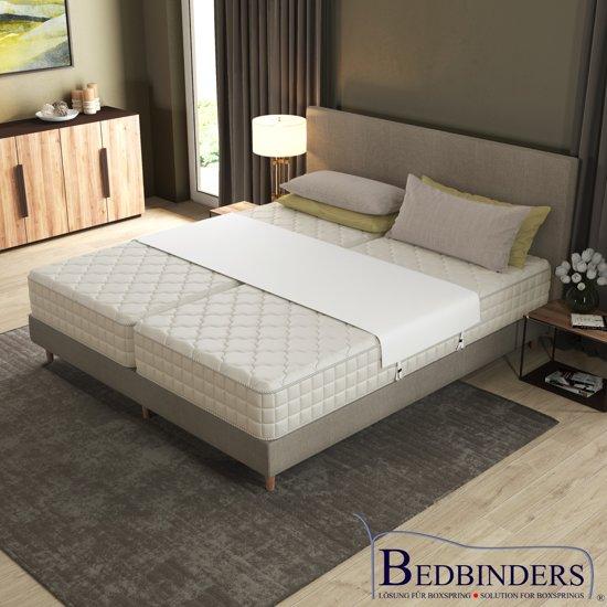 Wit |Bedbinder - Bedbinders | Verhelpt het schuiven van matrassen & vermindert de geul in het midden van uw bed