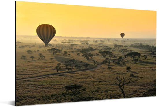 Luchtballonnen varen boven het Nationaal park Serengeti in Tanzania Aluminium 90x60 cm - Foto print op Aluminium (metaal wanddecoratie)