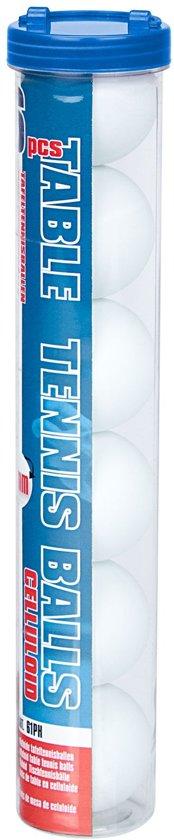 Get & Go Tafeltennisballen Celluloïde in Koker - 6 Stuks - Wit