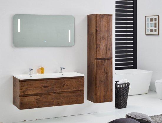 Bol.com badkamermeubel luiz 120cm met zijkast en led spiegel
