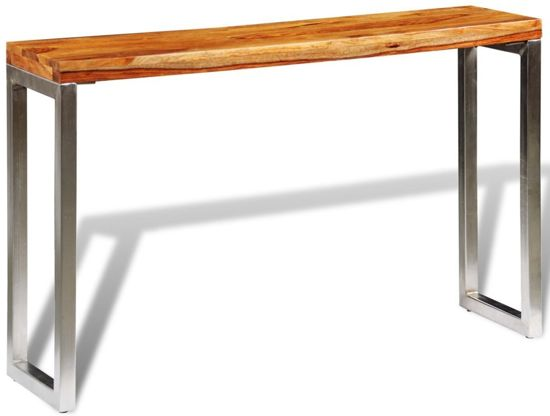 Sidetable Hout Metaal.Console Table Wandtafel Sidetable Hout Metaal Zilver 120x35x76cm