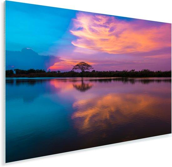 Silhouet van de boom op de rivier tegen een kleurrijke hemel Plexiglas 120x80 cm - Foto print op Glas (Plexiglas wanddecoratie)