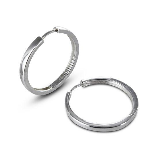 Silventi 921200652 - Zilveren klap-oorringen - Vierkante Buis 3 mm - 28 mm - Zilverkleurig