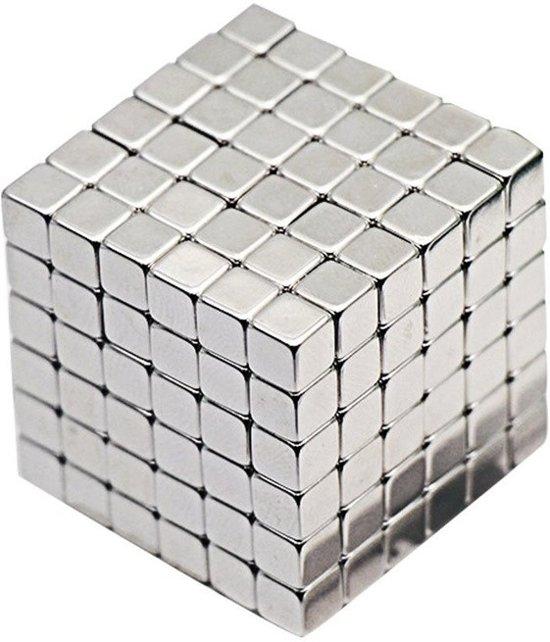 Afbeelding van het spel 216 kleine vierkante sterke magneten in blikje - Buckyballs - Neocubes zilver