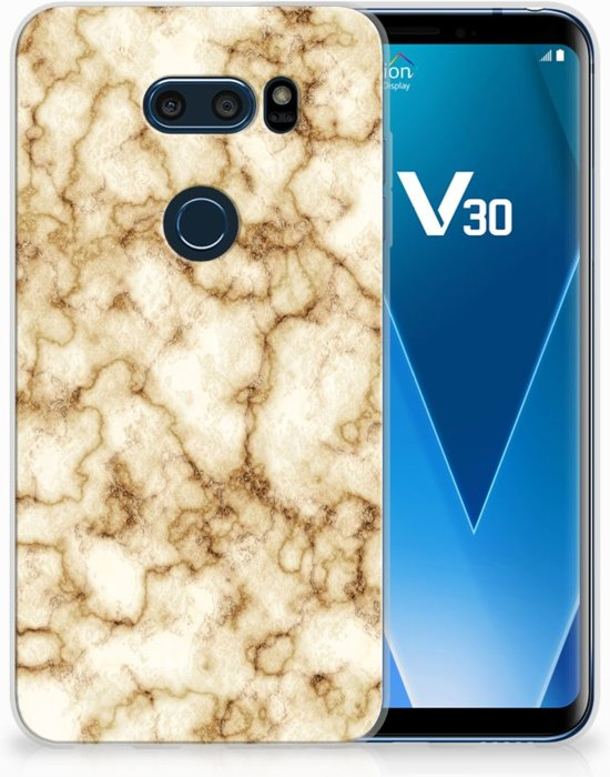 LG V30 Uniek TPU Hoesje Marmer Goud