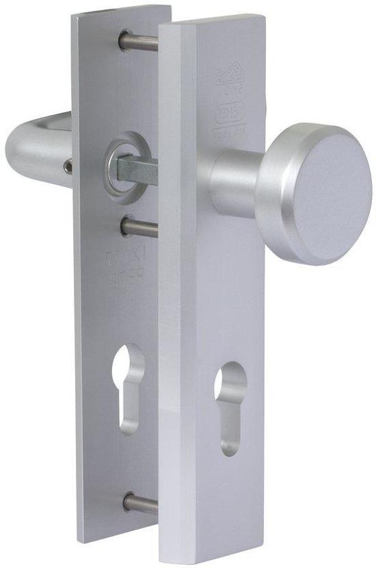Nemef veiligheidsdeurbeslag 3405 - Knop/Kruk - Afstand 55mm - SKG*** - Aluminium - In zichtverpakking