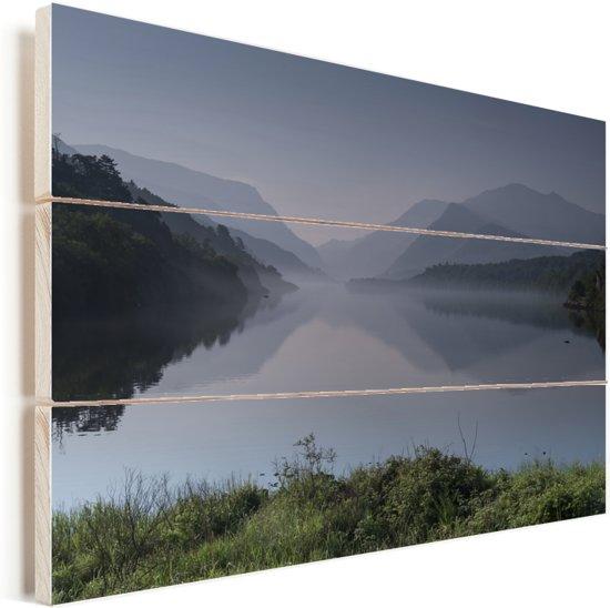 Nationaal park Snowdonia in Wales Vurenhout met planken 30x20 cm - klein - Foto print op Hout (Wanddecoratie)