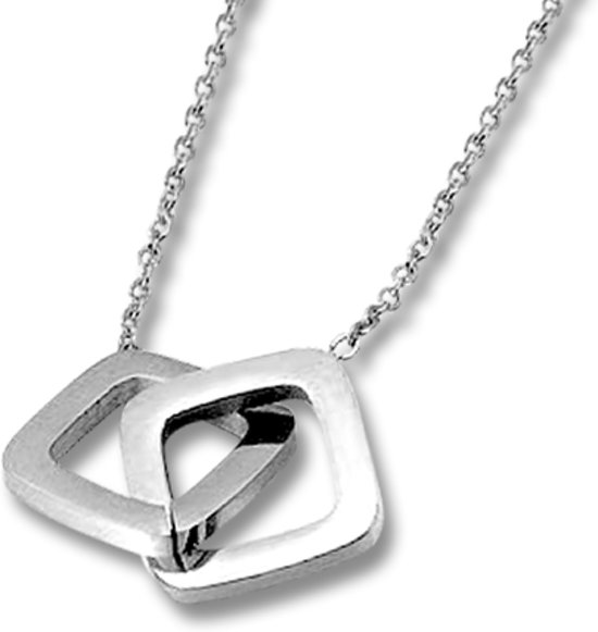 Amanto Ketting Eise - Dames - 316L Staal PVD - Geometrisch - 13x13 mm - 50 cm