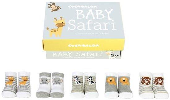 Cadeau doosje met 5 paar babysokjes - Baby Safari - kraamcadeau