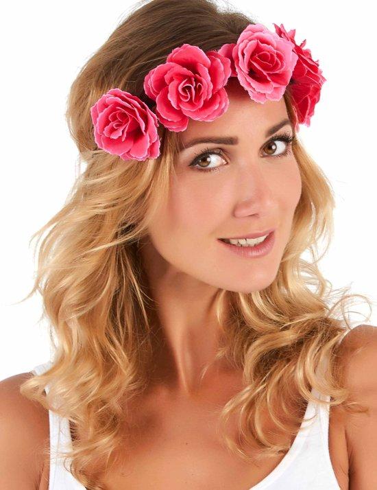 Roze bloemenkrans voor vrouwen - Verkleedattribuut