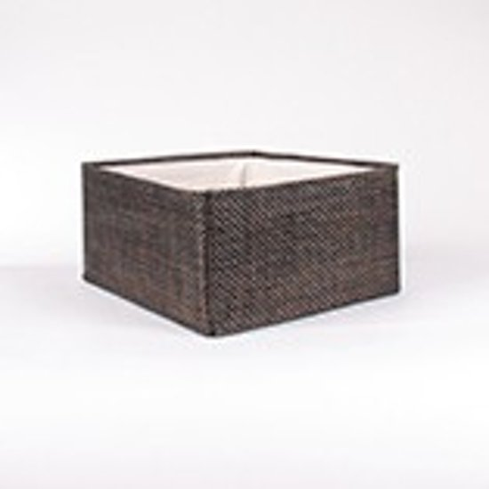 Opbermand - opberger in textaline met witte binnenbekleding - chocolat -30x27x15cm