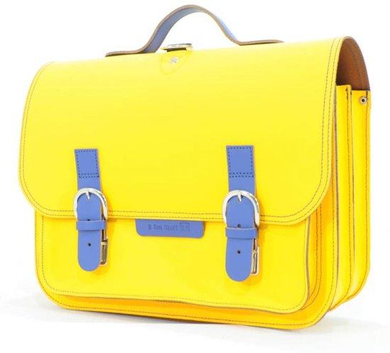 7d69919d021 bol.com   Lederen schooltas / boekentas geel met cobalt blauw   Own ...