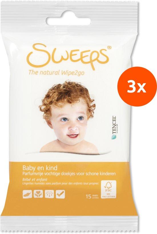 Sweeps Babydoekjes (3 reisverpakkingen: 3x15 stuks)