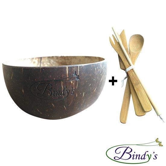 Coconut bowl met 6-Delige Bamboe Bestekset – Handgemaakt Uit Bali – 100% Biologisch – Vegan – Smoothie Bowl – Kokosnoot Kom - Multifunctioneel
