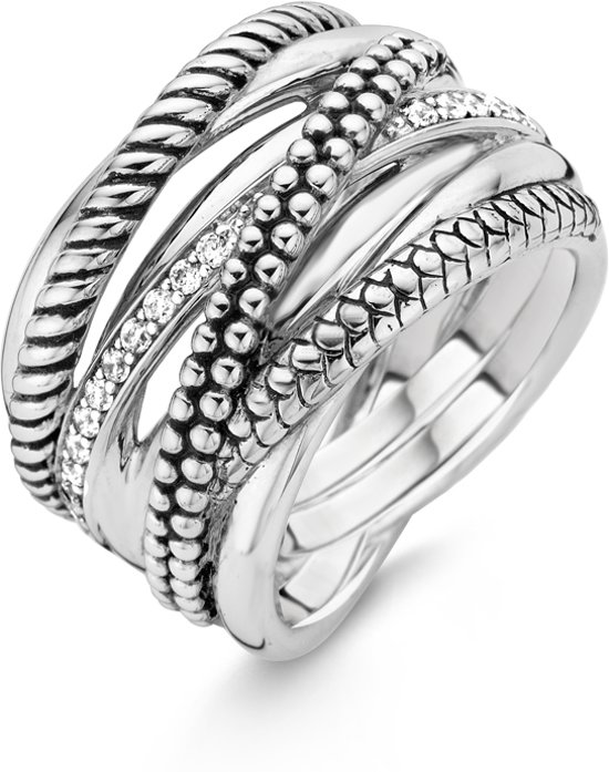 TI SENTO Milano Ring 12066ZI - Maat 58 (18,5 mm) - Gerhodineerd Sterling Zilver