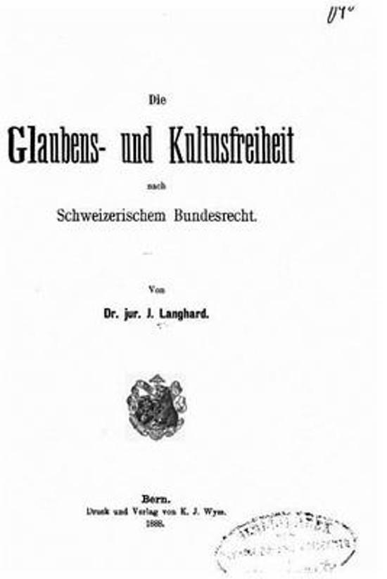 Die Glaubens- Und Kultusfreiheit Nach Schweizerischem Bundesrecht