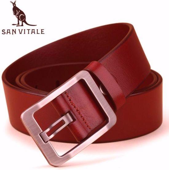 San Vitale 130RBr Lederen heren riem met een mooie hoge kwaliteit gesp De kleur is cognac (rood/bruin)