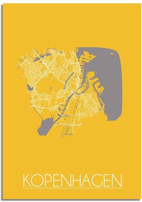 Plattegrond Kopenhagen Stadskaart poster DesignClaud - Geel - A4 + fotolijst wit