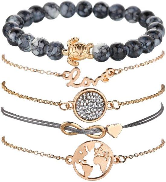 Joboly Set armbanden infinity love hartje diamant wereldbol en schildpad 5 delig - Dames - Goudkleurig - 19 cm