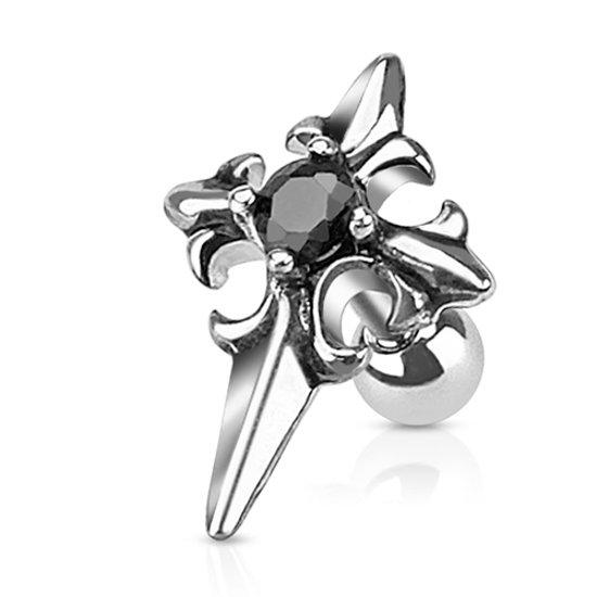 Tragus piercing kruis met zwarte steen ©LMPiercings