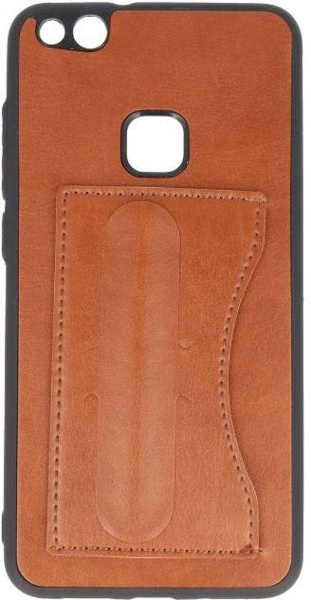 Standing TPU Wallet Case voor Huawei P10 Lite Bruin