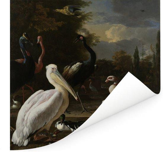 Een pelikaan en ander gevogelte bij een waterbassin - Schilderij van Melchior d'Hondecoeter Poster 100x100 cm - Foto print op Poster (wanddecoratie woonkamer / slaapkamer)