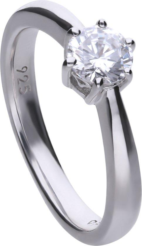 Diamonfire - Zilveren ring met steen Maat 16.0 - Steenmaat 5.65 mm - Chatonzetting