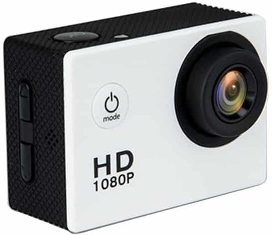 HAMTOD HF40 Sportcamera met 30 m onderwaterbehuizing, Generalplus 6624, 2,0 inch LCD-scherm (wit)