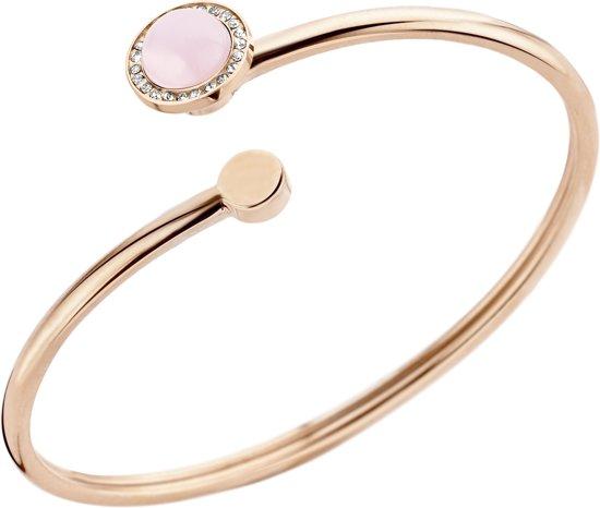 Melano vivid plate wire armband - dames - rosekleurig - rose quartz - small